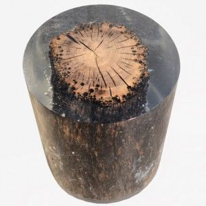 Natural materials trapped in resin to form furniture collection.