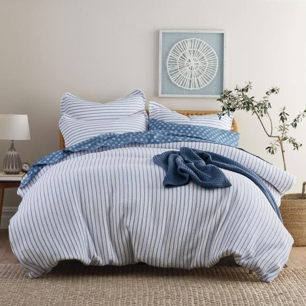 The Company Store Orion Navy Striped Organic Cotton Full Duvet Cover 50383d F Navy The Home Depot Full Duvet Cover Duvet Covers Duvet Covers Twin