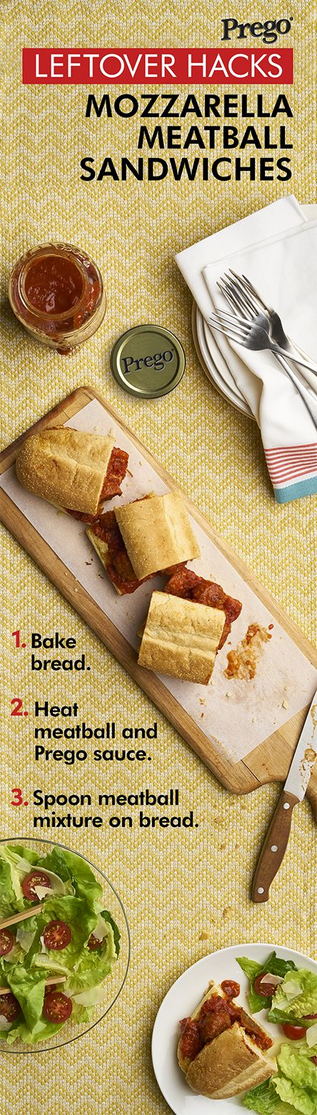 These saucy, cheesy garlic bread and meatball sandwiches made with leftover Prego sauce can be made for your family in no time.