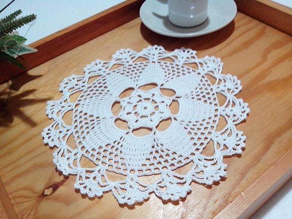 Centrino a uncinetto bianco, centrotavola, pizzo, arredamento casa, diametro 19 cm centro bianco idea regalo nozze casa home decor