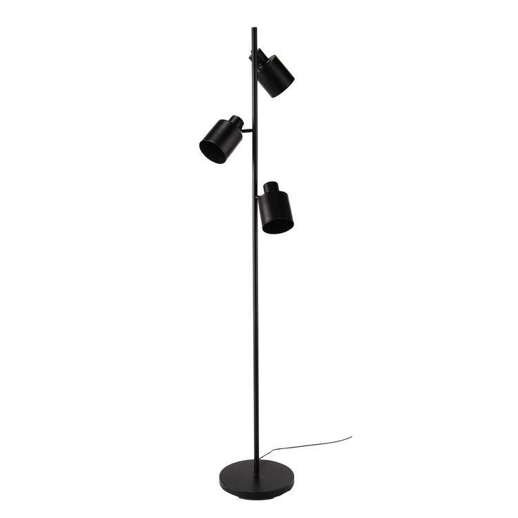 Stehlampe JOHNSON aus Metall mit 3 Spots, H 183cm, schwarz