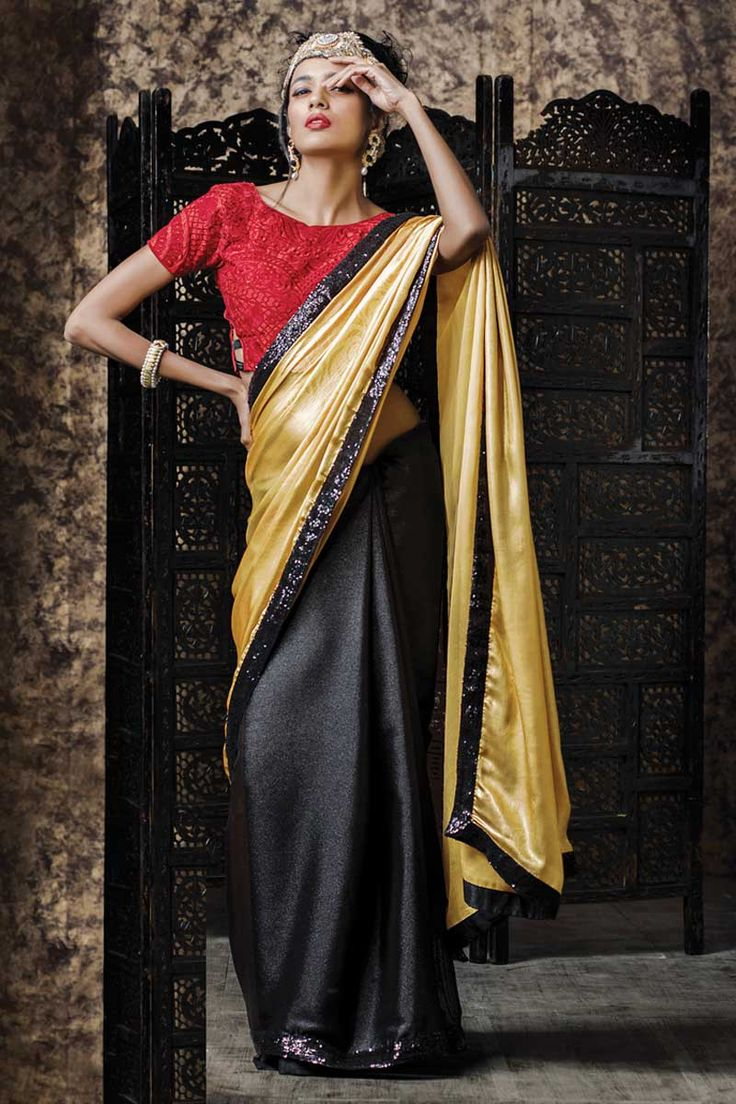 Beige and black Georgette Saree With Silk Blouse Beige and black georgette saree with maroon silk blouse.  Embellished with embroidered, zari and stone.  Saree comes with round neck blouse.  Product are available in 34,36,38,40 sizes. It is perfect for .