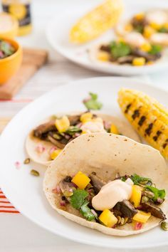 Beer-Marinated Grilled Mushroom Tacos with Pepita Relish and Chipotle Crema
