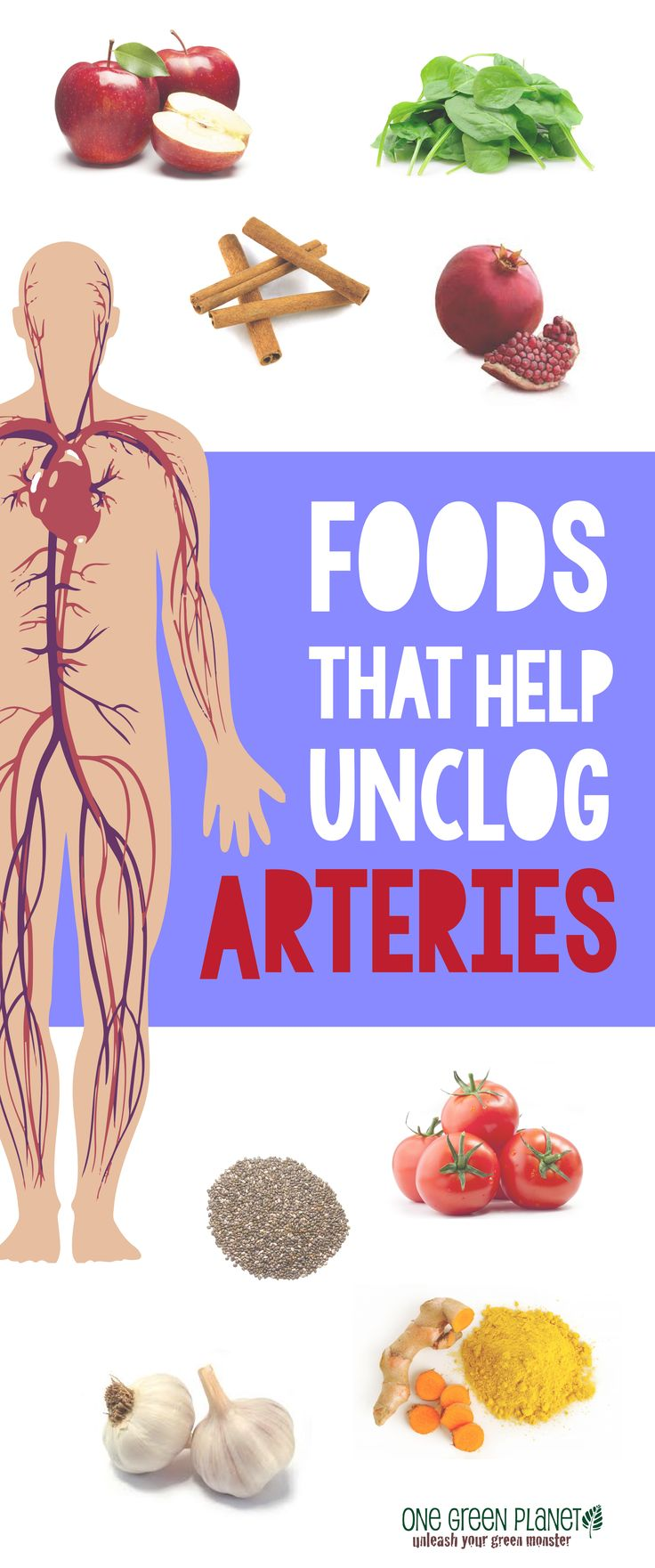 Foods for Unclogging Arteries: Garlic, Pomegranate, Turmeric, Chia Seeds, Cinnamon, Apples, Tomatoes, Greens | Asparagus, Spirulina, Cranberries, Watermelon http://www.realfarmacy.com/the-top-6-artery-cleansing-foods/