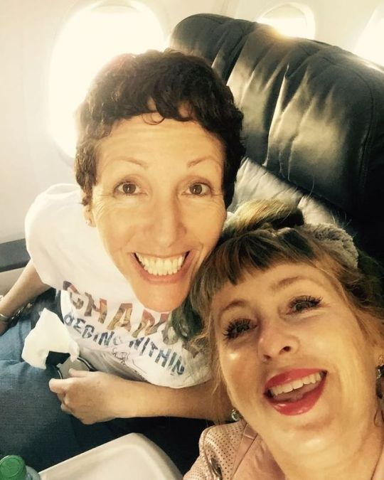 Producer Sabrina Sutherland and Kimmy Robertson- Wacky kids on the way to the Pacific Northwest twin peaks festival 7/27/17