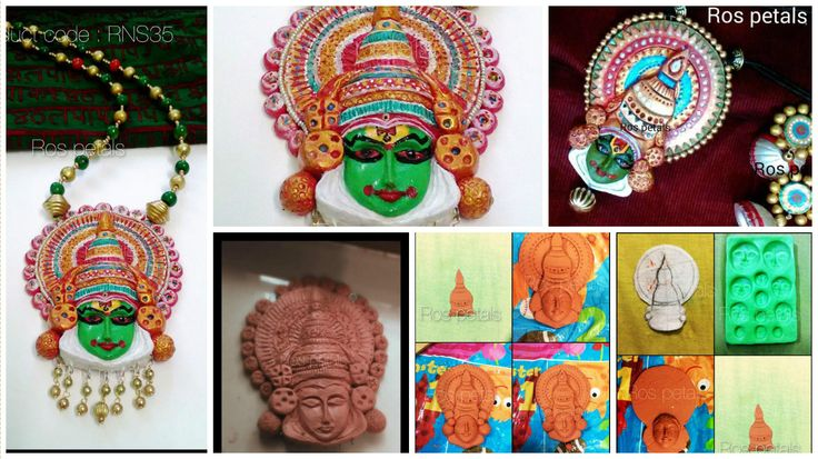 How to make kathakali pendant from clay