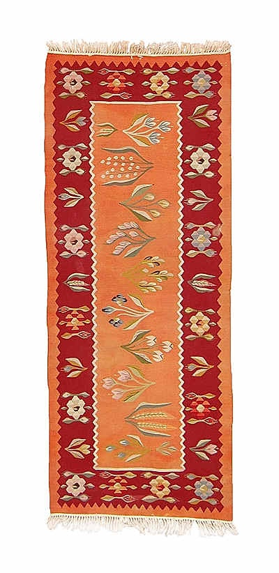 Origin:	Romania  Weaving Type:	Kilims  Width:	2'4'' (72 cm)  Length:	5'11'' (180 cm)  Weight:	4.4 lbs (2 kg)  Weft:	Wool  Warp:	Cotton  ID:	K0003593  Price:	$750.00 (approx. €583)  Description:    Romanian Kilim Runner Rug with floral motifs. This piece is around 60 years old and in good condition.