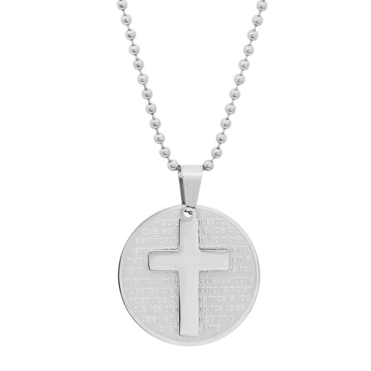 Men's Steeltime Stainless Steel Padre Nuestro Prayer Pendant with Cross in 2 colors -