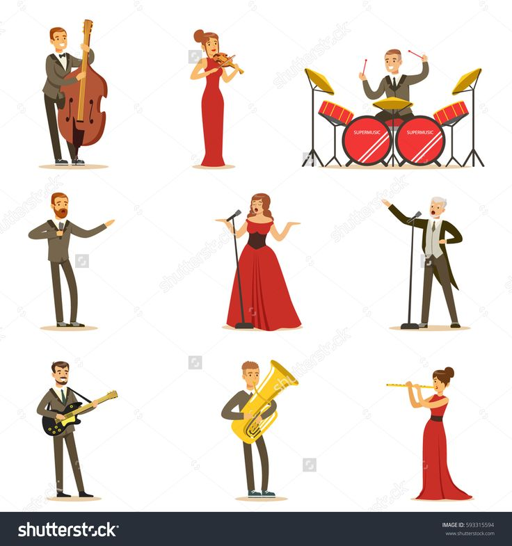 Adult Musicians And Singers Performing A Musical Number On Stage In Music Hall Collection Of Cartoon Characters