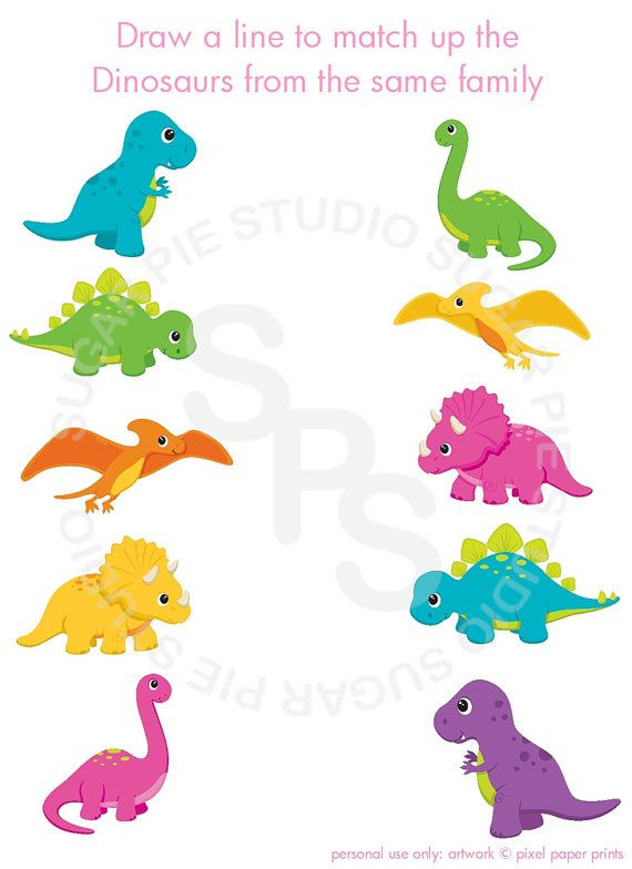Dinosaur triceratops or Any theme Printable matching activity by SugarPieStudio, $2.00 #dinosaur #party
