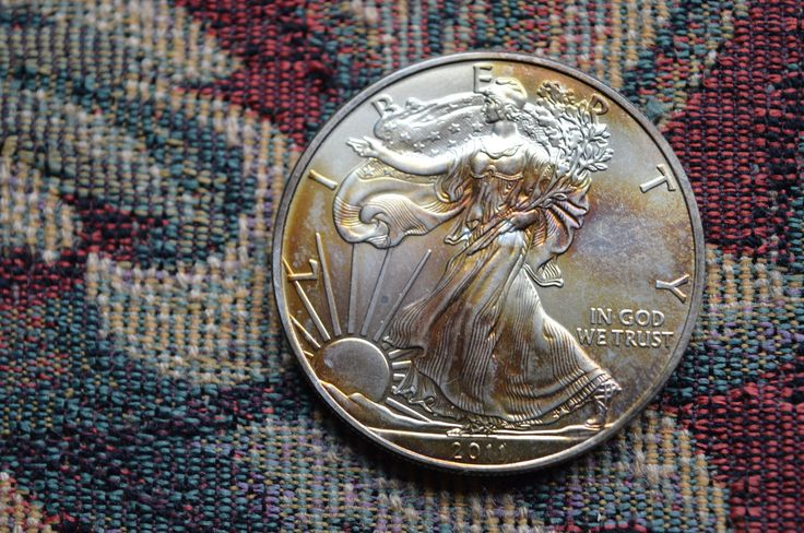 """2011 United States 1 oz Silver (.999) $1 """"American Silver Eagle"""" with toning 