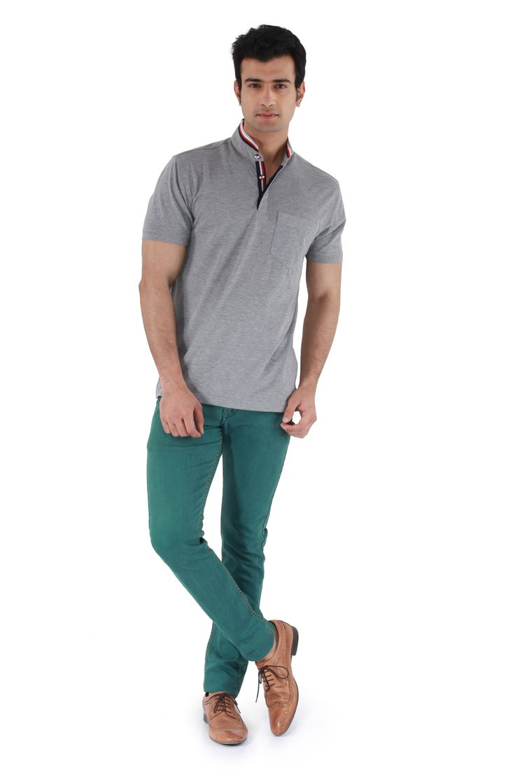MUDO Solid Grey Henley with navy, red and white striped round neck