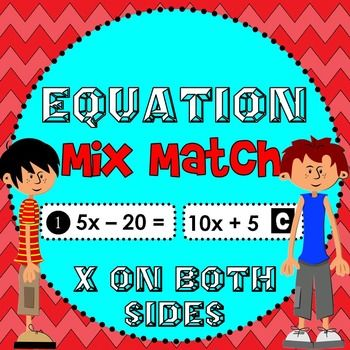 Solving equations activity. Students mix and match expressions to make 25 equations to solve. Students get the feeling of choice while practicing to solve equations with x on both sides. They can either cut out the expressions to make equations (good for hands-on learners) or match them from the expressions sheet.