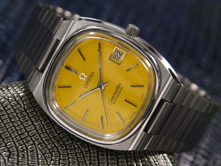 Mens RARE Vintage Swiss Omega Seamaster Automatic Stainless 1970 Yellow
