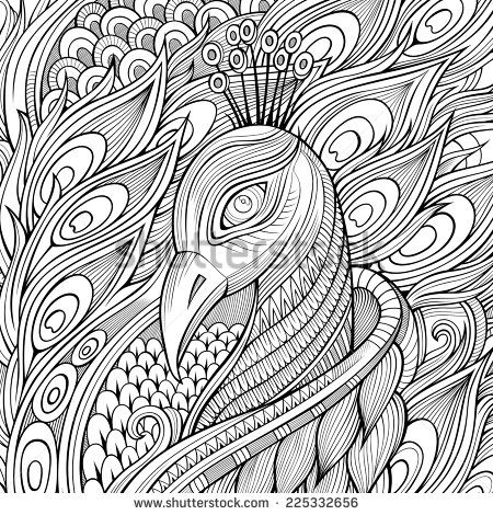 Peacock abstract doodle zentangle paisley coloring pages colouring adult detailed advanced printable kleuren voor volwassenen coloriage