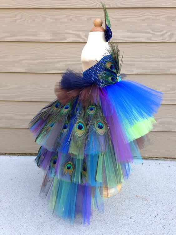 Gorgeous feathered Peacock Tutu Dress Halloween Costume Pageant Dress Flower…