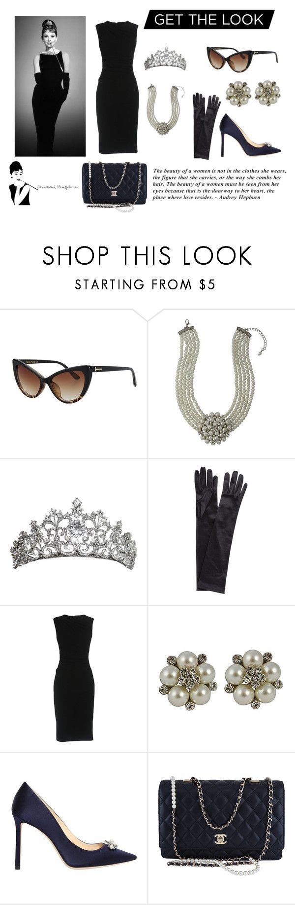 """""""Get The Look Of Audrey Hepburn"""" by alondra-orozco-i ❤ liked on Polyvore featuring John Lewis, Dolce&Gabbana, Jimmy Choo, Chanel and GetTheLook"""