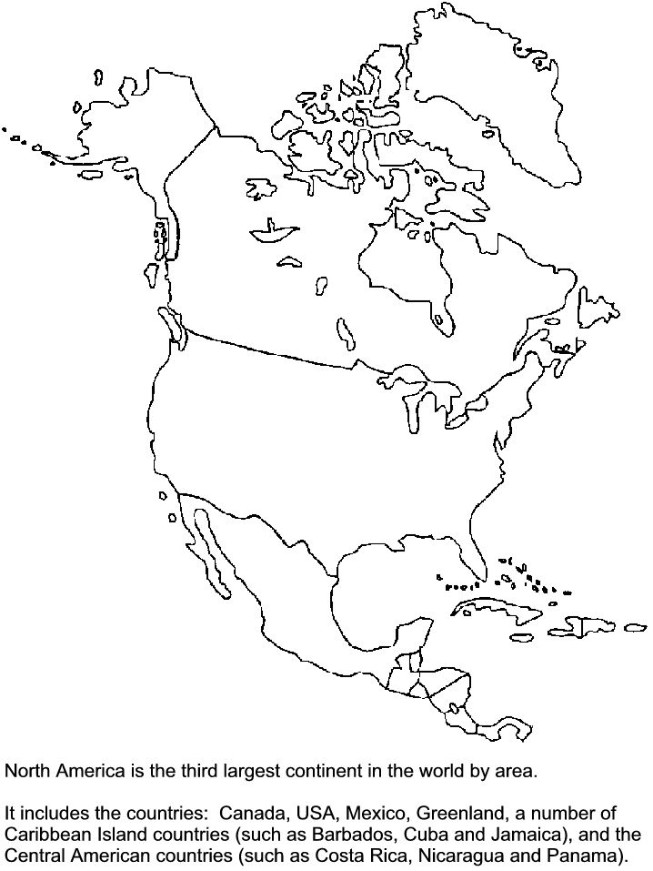 Template North America Map Coloring Pages North America