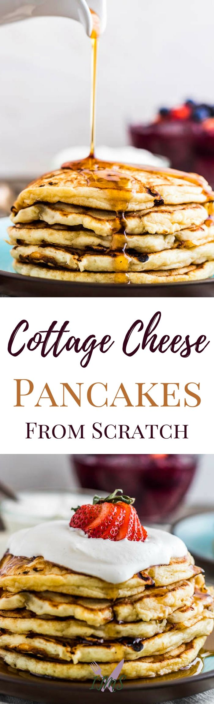 Cottage Cheese Pancakes are the best breakfast. Quick and easy to make, with protein bits inside, topped with fresh whipped cream and maple syrup or a fruit sauce and you're on your way to a well-balanced meal! via @ijustmakesandwi