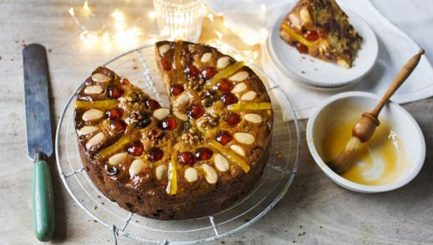 Make this delectably moist and fruity cake as an alternative to traditional Christmas cake. It serves 12.