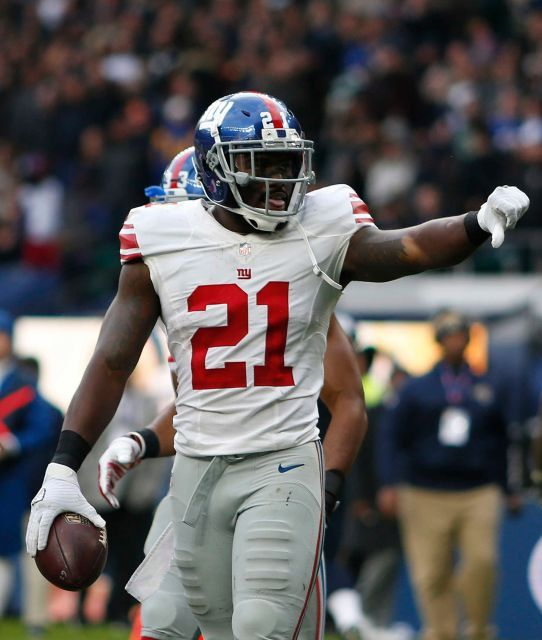 Giants vs. Rams in London:     October 23, 2016  -   17-10, Giants  -  Landon Collins #21 New York Giants celebrates his touchdown during an NFL game between the New York Giants and the Los Angeles Rams at Twickenham Stadium in London, Sunday Oct. 23, 2016.
