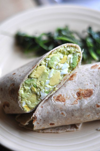 Avocado Egg Salad: 4 hard-boiled eggs, 1 large avocado, 2 T. yogurt, 1 t. curry.  Pinch of salt and pepper. YUM!!!