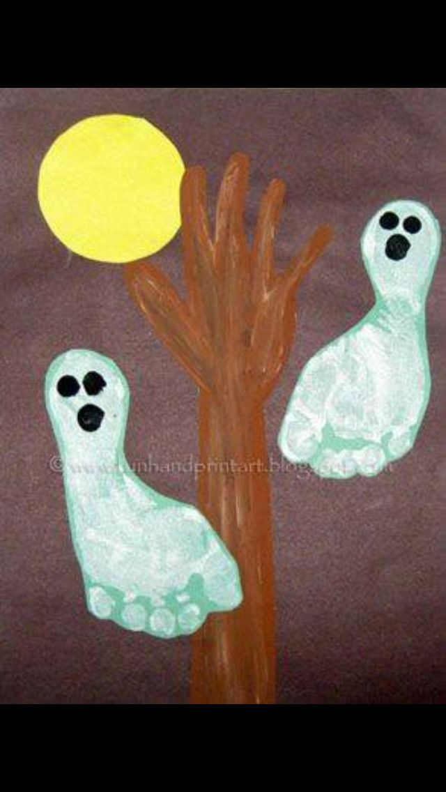what is better than handprint art handprint and footprint art i am a sucker for it halloween handprint footprint ghostslove this - Halloween Arts And Crafts For Kids Pinterest