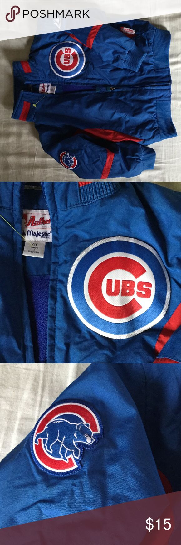 Child's 4t Chicago cubs therma base majestic coat Like new. Gently used child's MLB Cubs jacket with sewn on patches and therma base Majestic Jackets & Coats Puffers