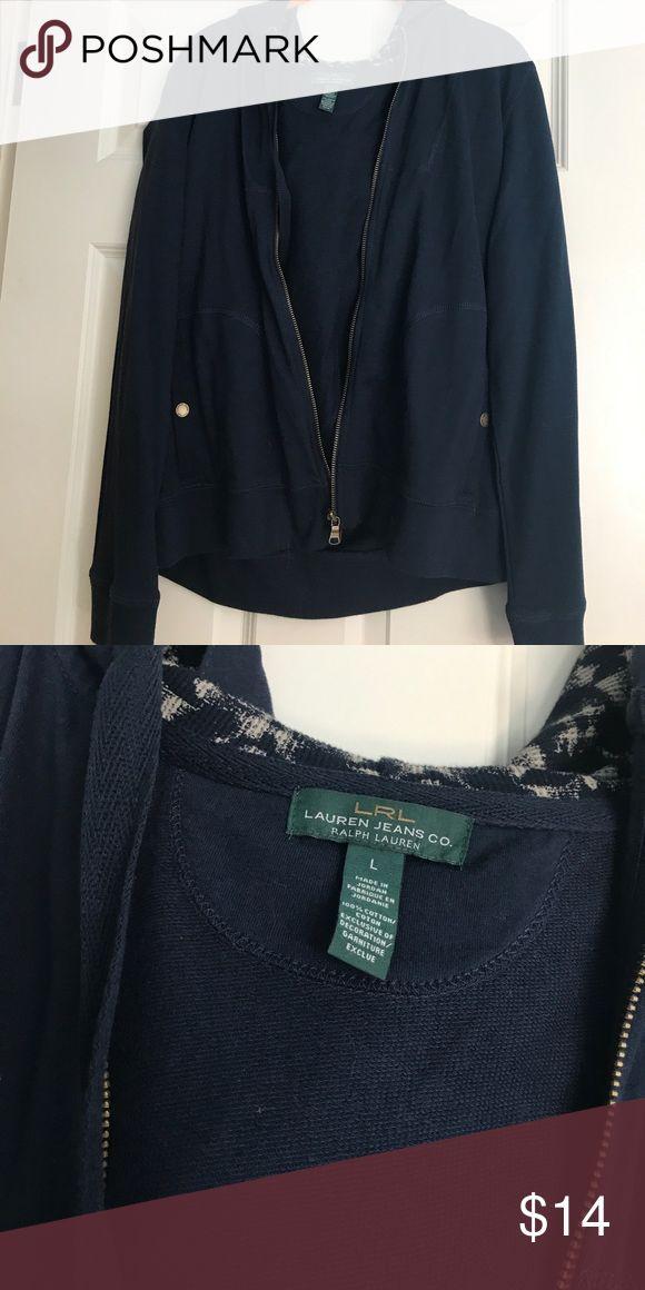 Large Ralph Lauren navy zip up sweatshirt jacket Excellent condition. Gold zipper. 100% cotton. Super comfortable!! Size large Ralph Lauren Tops Sweatshirts & Hoodies