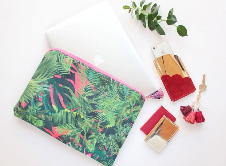 Excited to share the latest addition to my #etsy shop: Tropic laptop case. Macbook case 13''. Laptop sleeve. Computer bag 16,5''. Macbook cover. Protective tablet sleeve. Tropical print. /CASE 5
