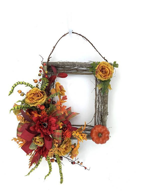 Square Fall Wreath, Rustic Autumn Wreath, Fall Wreath For Front Door, Fall  Wall Decor, Fall Pumpkin Wreath, Rustic Fall Wreath