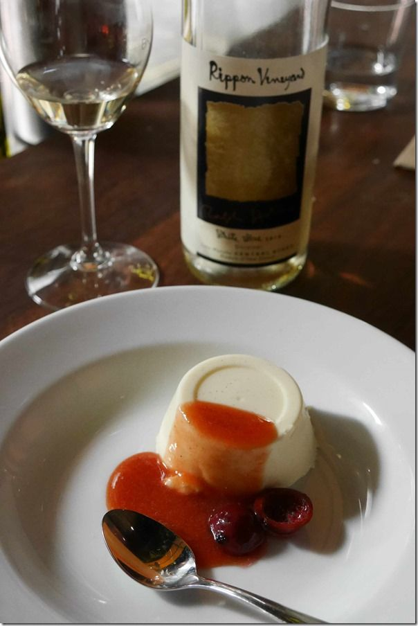 Ginger pannacotta with quandong syrup
