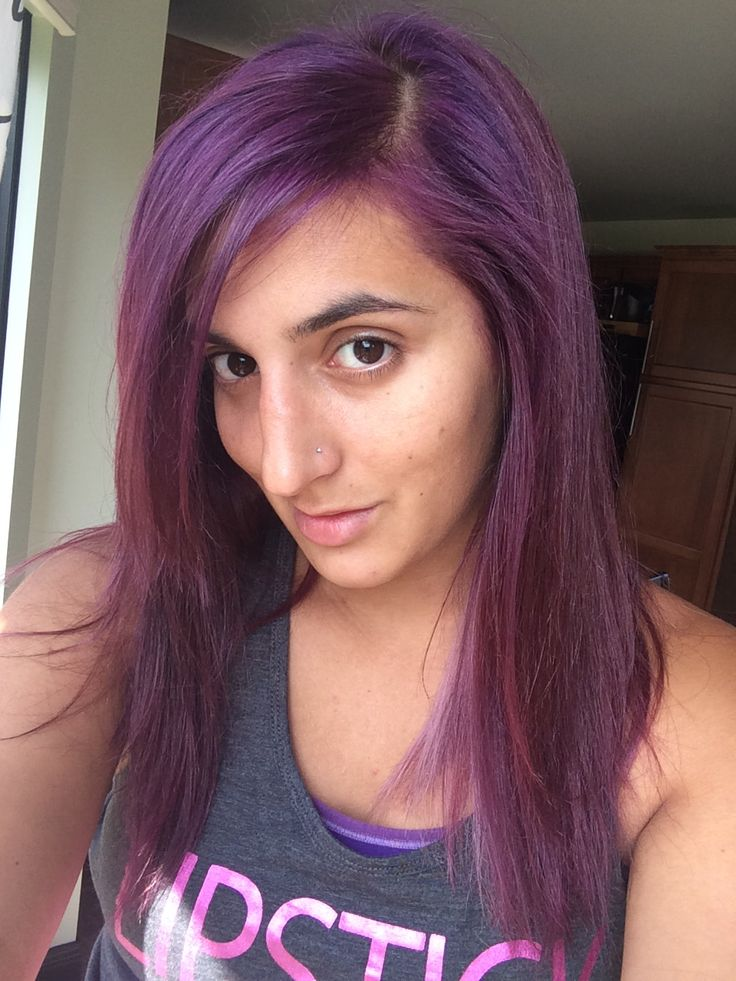 Age perfect dark plum brown over bleached hair. Sally's