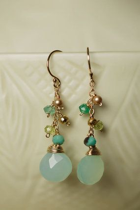 Fun unique dangle gold filled gemstone earrings make a fun statement for spring or summer