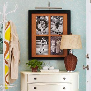 Entryway PhotosFrames Corks, Nice Entryway, Photos Decor, Corkboard Photos, Corks Boards, Entryway Decor, Entryway Photos, Black White Photos, Frames Corkboard