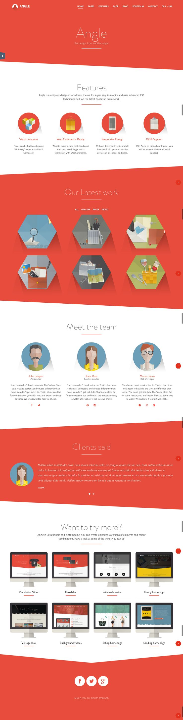The Angle adds a quirky demention. It would work nicely on a personal website. #Flat #Responsive #Bootstrap #MultiPurpose #Theme