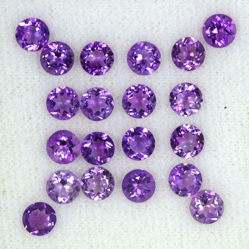 8.07 cts Natural Top Superb Purple Amethyst Loose Gems Round Cut Lot Brazil 5 mm