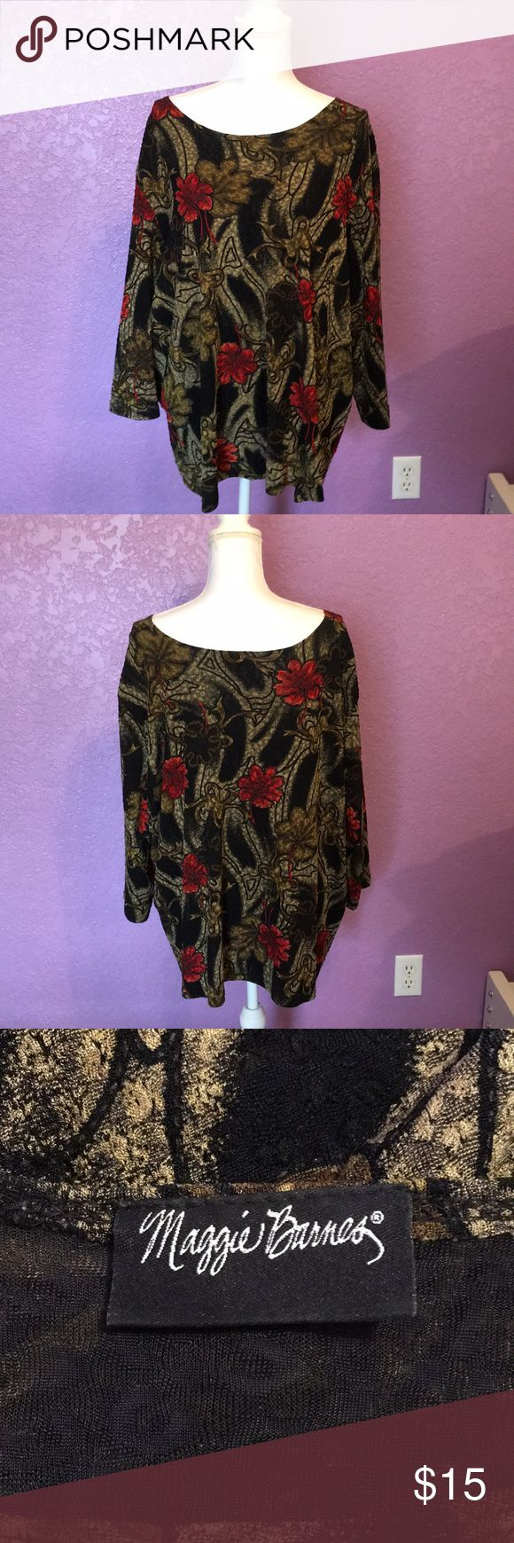 PLUS SIZE FALL BLOUSE. Plus size blouse with scoop neck.  3/4 sleeves Lined. Ver…