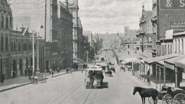Bourke Street, Melbourne, looking east, early 1900s.
