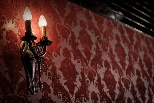 sconce, burnt velvet wallpaper and subway tile | Flickr - Photo Sharing!