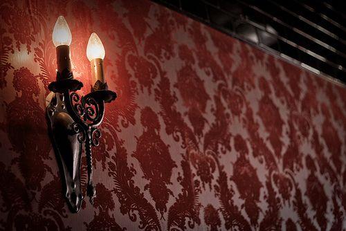 sconce, burnt velvet wallpaper and subway tile | Flickr - Photo Sharing!