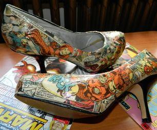 Comic Book Shoes This is cool and could be a nice source of income given some of the painted sneakers I've seen.  #Comics and #Shoes I'll have #Spiderman please on some nice comfy flats size 7.5 Easy to do!