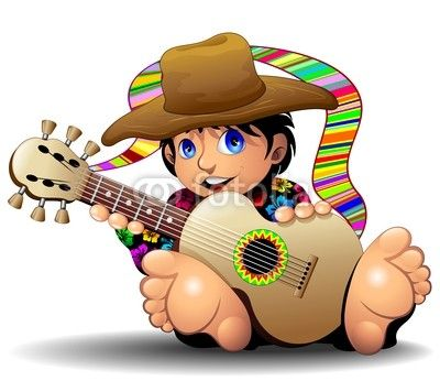 Hippy Boy Cartoon with Guitar-Ragazzo Hippie con chitarra