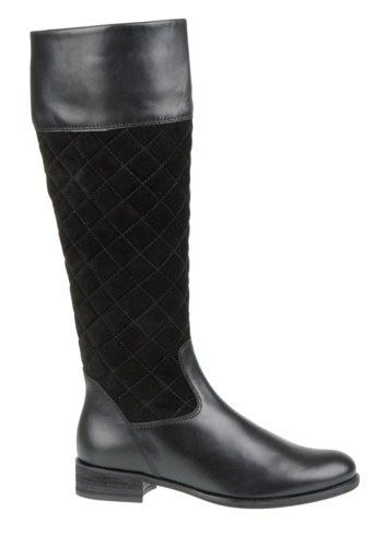 Classically stylish boots by Gabor in rider look, with handy zip on the inside. The upper is made of black quilted suede and also black leather, the interior material made of soft microfiber. The soft insole creates a comfortable feel and sturdy synthetic sole ensures a safe walking and standing on almost any surface and thus completes this shoe from perfect.  Check more info at http://www.traxxfootwear.ca/catalog/5420136/gabor-7163617