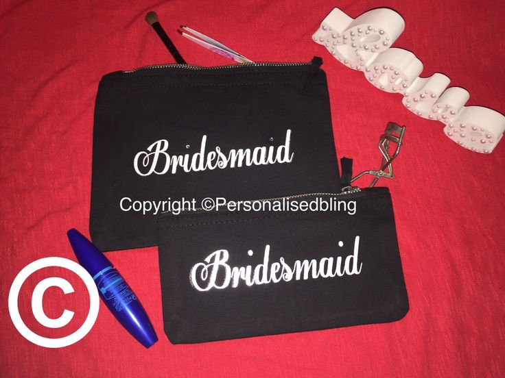 Bridesmaid make up bag canvas zip personalised black white make-up bag wedding gift present bride cosmetic bag toiletry bag purse by personaliseddiamante on Etsy