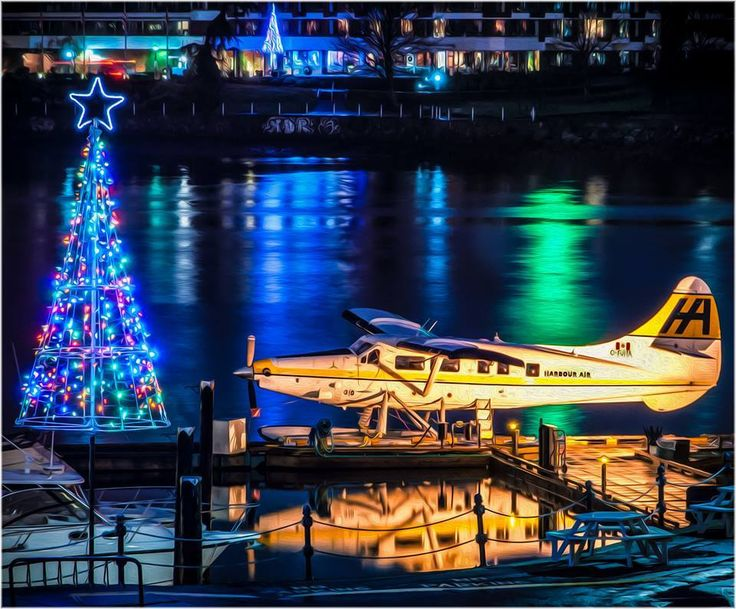 Harbour Air Seaplanes looking beautifully festive in downtown Victoria, BC by N Philps Photography