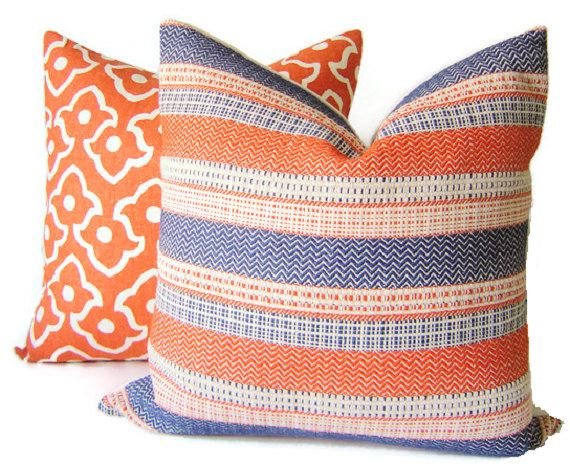 This Listing Is For 1 Pillow Cover. Pillow Inserts Are Listed Separately.   Wonderfully Woven Upholstery weight stripes in Navy Blue, Ivory and Cayenne Orange. Reverses to Solid Ivory Washed Linen. Front: Cotton/Acrylic/Poly Back: 100% Washed Linen Dry Clean Only. Invisible YKK Zipper Closure. Pillow Form Insert Not Included. All seams are double-stitched and over-locked for a clean finish.  Shown with and listed separately Betwixt in Spark.  PATTERN PLACEMENT WILL VARY ON EACH PILLOW.    I…