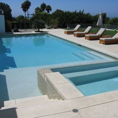 Rectangular pool with hot tub