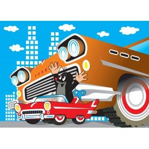 Kisvakond autót vezet faltapéta (160 x 115 cm)