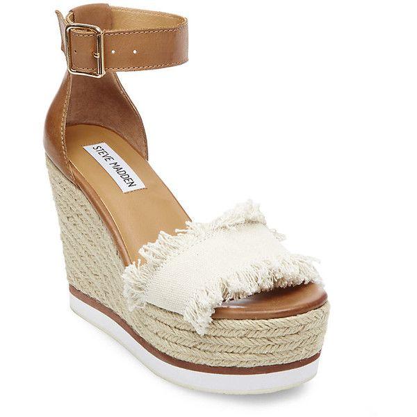 Steve Madden Valley Platform Wedges ($90) ❤ liked on Polyvore featuring shoes, sandals, beige, steve madden shoes, high heeled footwear, platform espadrille sandals, espadrille sandals and high heel platform shoes